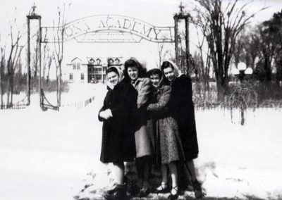 At the gates of Iona Academy in the 1940s
