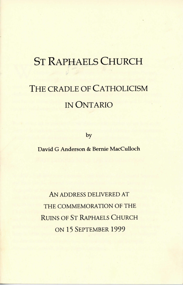 St. Raphael's Church: The Cradle of Catholicism in Ontario