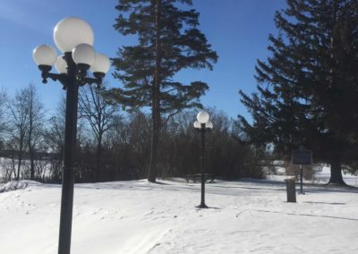 These lamp posts were restored in 2018 with funds received from Farm Credit Canada